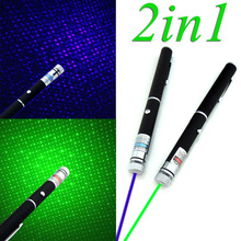 2in1 5mw Military Powerful Green/Blue Violet Laser Pointer Pen powerpoint presenter remote lazer pointer Newest With Star Cap