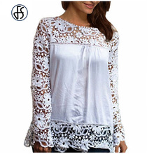 3XL 4XL 5XL White Black Round Neck Lace Crochet T Shirt Women Summer 2017 Long Sleeve Hollow Out Tops Casual Plus Size Tshirt