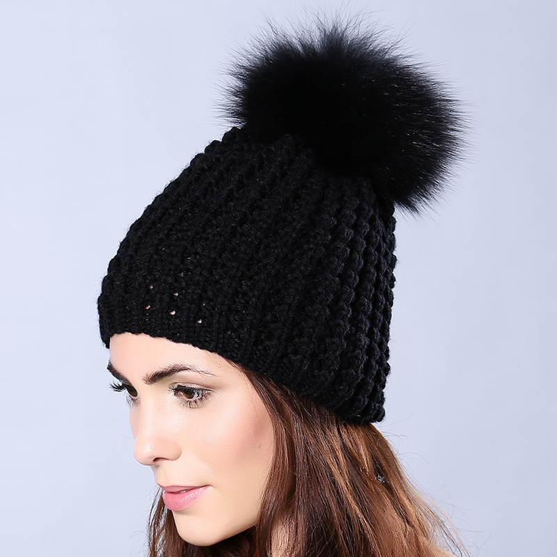 Fashion Autumn Winter Wool Knitted Unisex Skullies Cap Fox fur ball Pompoms Solid Color Ski Comfortable Warmth Gorros CP18T32Одежда и ак�е��уары<br><br><br>Aliexpress