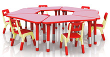 New!!! Only Table Height Adjustable Combined Trapezoid Table Super Quality Kindergarten Children Plastic Furniture CH-2603(China)