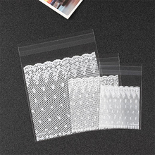 100pcs 4 Sizes White Lace Candy Cookie Bags Wedding Birthday Party Craft Self Adhesive Plastic Biscuit Packaging Gift Bag