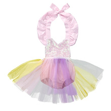 2017 New Summer Sequins Toddler Baby Girls Dress Clothes Rainbow Color Tutu Bodysuit Little Princess Party Dresses 0-3Y