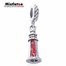 Authentic 925 Sterling Silver lighthouse red enamel Dangle Charm Fit Brand Bracelets Jewelry(China)