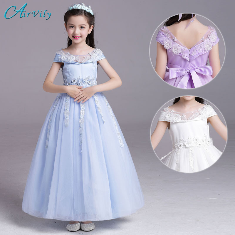 2017 New Puffy Lace Flower Girl Dress for Weddings Long Sleeves Ball Gown Girl Party Communion Pageant Gown Dresses Vestidos<br>
