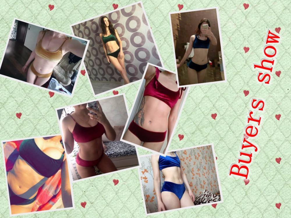 Sexy Brazilian Bikini 17 Blue Velvet Swimwear Women Swimsuit Push up Biquini Halter Bikinis Set Bathing Suit Maillot De Bain 3