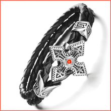 Genuine Leather Bracelet men, Korea Punk Red Stone Cross Star Bracelets Bangles, Charm Braclets for Women Men Jewelry