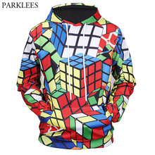 New 3D Hooded Sweatshirt Men Women 2017 Fashion Magic Cube Print Mens Hoodies And Sweatshirts Harajuku Hip Hop Sweat Homme 3XL(China)