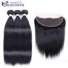 BEAUDIVA Pre-Colored 1# Jet Black Straight 3 Bundles with One 13*4 Closure One Pack For Beauty Supply Non Remy Human Hair