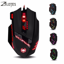 2017 New ZELOTES T90 T-90 9200DPI 8 Button Computer Mouse Optical Wired USB Gaming Mice Professional Game for Laptop Desktops PC(China)
