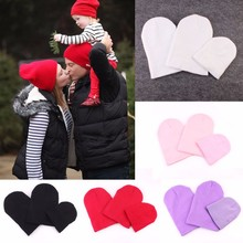 3Pcs A Family Cap Dad Mom Baby Hat Women Kid Soft Knitted Winter Beanie Hat(China)