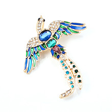 Antique Design Luxury Crystal Enamel Beautiful Metal Phoenix Peacock Vintage Brooch Pins Charms Animal Clip Brooches For Women
