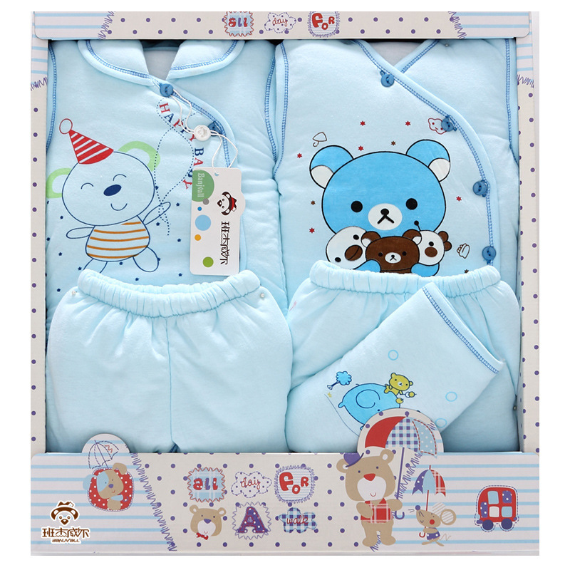 2Pcs/Lot 2017 Newborn Baby Girl Clothes Autumn Cute Bear Gift Box Set Thick Cotton  Character Baby Boy Clothes<br>