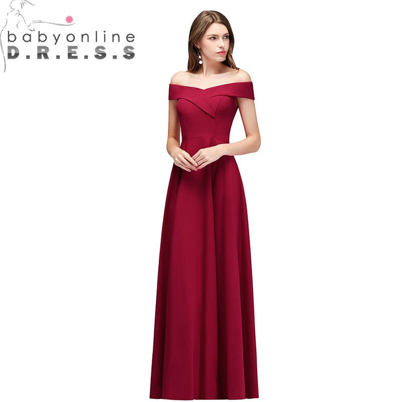 New Arrival Simple Off Shoulder Evening Dress Long  Sexy Boat Neck Sleeveless Vintage Evening Gown Robe de Soiree Longue