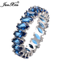 JUNXIN Fashion Blue Geometric Ring White Gold Ring Vintage Wedding Rings For Men And Women Jewelry Friend Gifts