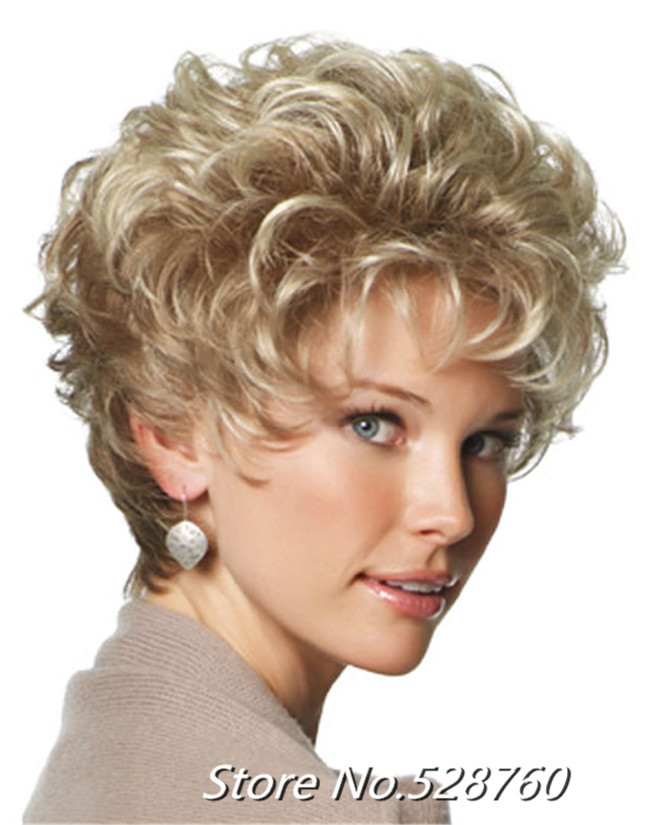 New Arrival  Womans Fashion short Ash blond Curly hair HEAT - RESISTANT FIBER Quality Assurance  fast Shipping<br><br>Aliexpress