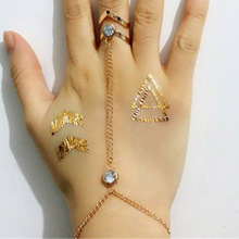 Original Single Hot Models Geometry Style  Ring Bracelet Mittens Finger Ring Bracelet Fashion Personality Match for Women Gift
