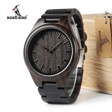 BOBO BIRD WH05 Brand Design Classic Ebony Wooden Mens Watch Full Wood Strap Quartz Watches Lightweight Gift for Men in Wood Box