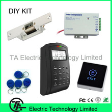 sc103 RFID card access control and time attendance with electric strike power supply touch exit button ID key access control kit