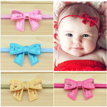 12 pcs/lot, Baby Kids Mini Sequin Bow on Skinny Stretchy Elastic Headband