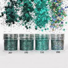 4box 10ml Dark Green Color Mix Nail Glitter Powder MIx Dust 1mm Shiny Sequin For Eyeshadow Tattoo Body UV Gel Decoration Tip