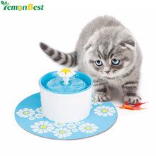 Automatic Pet Feeder Blue Flower Cat Dog Electric Fountain For Cats Pet Bowl Drinking Water Dispenser Drink Dish Filter EU Plug(China)
