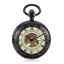 Steampunk Skeleton Transparent Glow Dial Hand Wind Mechanical Black See Though Face Retro Ver Vintage Pendant Mens Pocket Watch