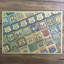 "New arrival RMCB-032 Vintage kraft paper ""ROUTE 66 show"" for kichen wall sticker movie poster bar cafe wall painting 42x30 cm(China)"
