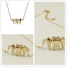 Fashion accessories punk necklace chain female fashion short design tooth necklace(China)