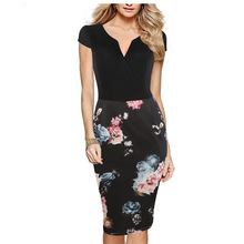 Womens Vintage 1920s Elegant Black and Floral Print Patchwork Cocktail Party Stretch Bodycon Knee Length Formal Dress 400240