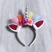 1PC Easter Tiara Rainbow Unicorn Horn with Chiffon Unicorn Headband Glitter Hairband Easter Bonus for Party DIY Hair Decorative