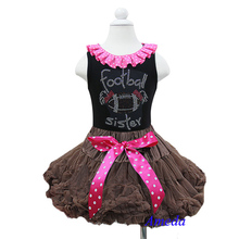 2 Piece Set - Girl Brown Pettiskirt Polka Dots Bow Plus Rhinestone Football Sister Black Tank Top Pettitop 1-7Y