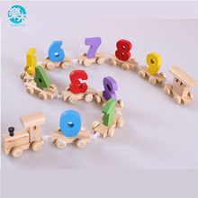 Baby Montessori Soft Wood Train Figure Model Toy with Number Pattern 0~9 Blocks Educational kids Wooden Toy children gifts(China)