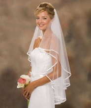 In Stock White And Ivory Ribbon Edge Two-Layer Tulle Wedding Bridal Veil Wedding Accessories