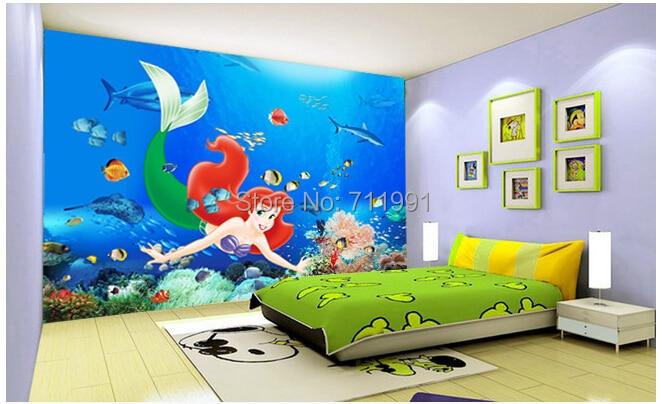 Custom baby wallpaper underwater world shark Mermaid 3D stereo wallpaper murals for the bedroom<br><br>Aliexpress