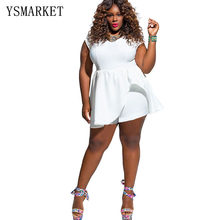 52061154f56 L-4XL Women Short Sleeve Jumpsuit Romper Summer Sexy Clothes Plus Size Black  White Jumpsuits Shorts Casual Clubwear A2589