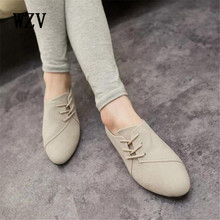WZV New Hot Selling Spring Casual Women Shoes Women Nubuck Leather lace-Up Flat Shoes Handsome Head Toe Shoes L275