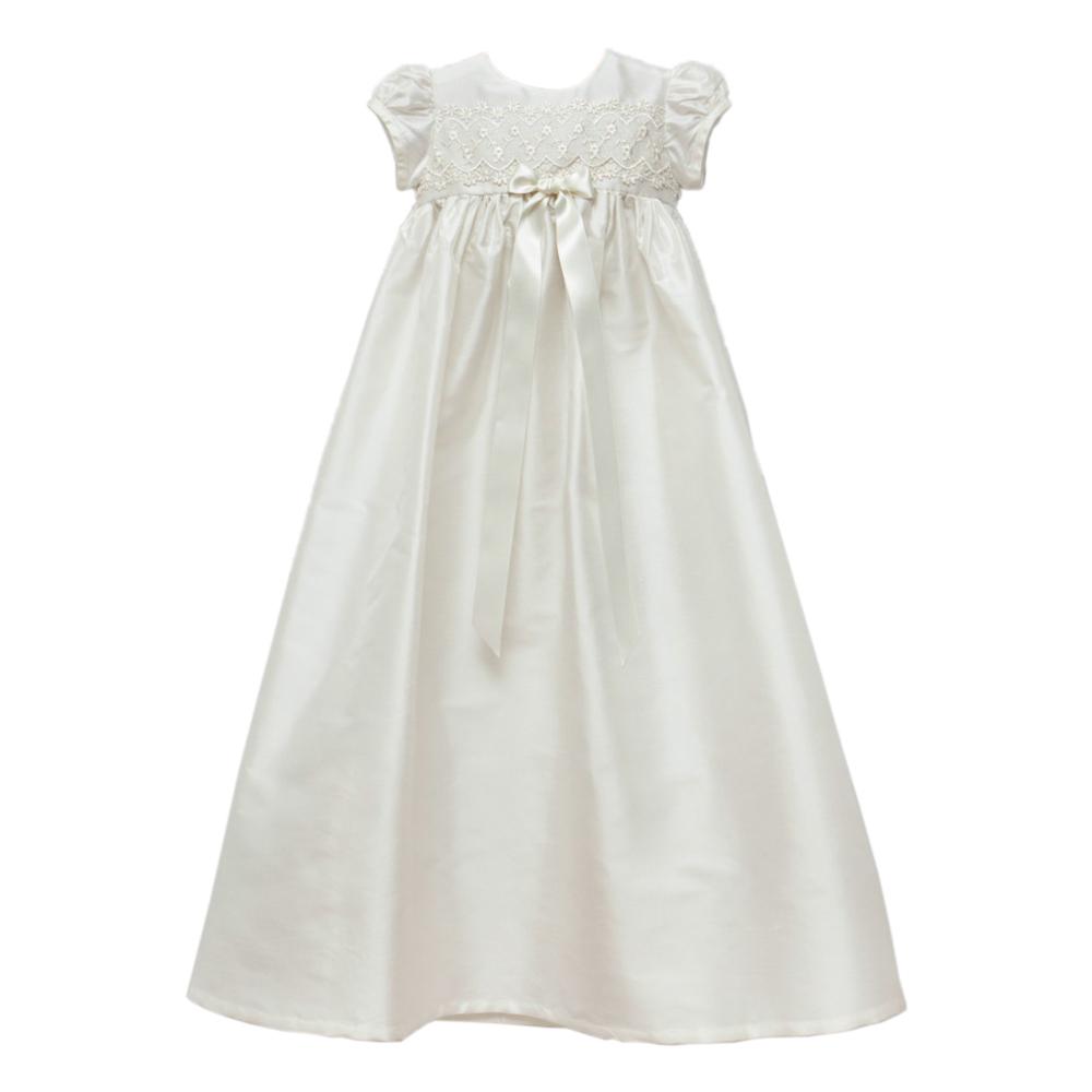Baby Girl Dresses O-neck Short Sleeves Bow Sashes Back with Button Appliques Vestido Infantil Menina Baby Girl Christening Gown<br><br>Aliexpress