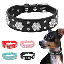 Didog Rhinestone Dog Collar Diamante Pet Necklace Bling Cat Leather Collars Blue Pink Black Red For Small Medium Dogs