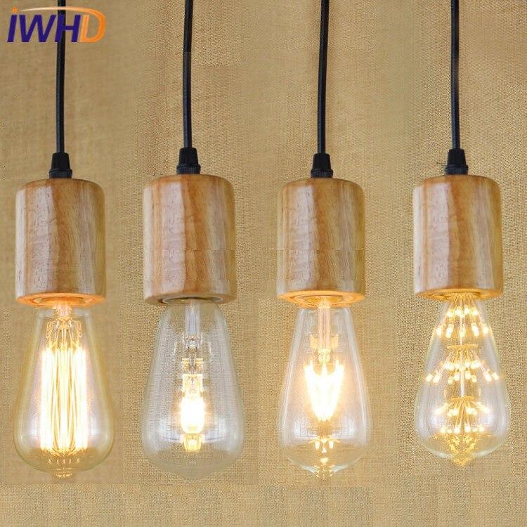 IWHD Wood Vintage Lamp Lamparas LED Pendant Lights Style Loft Industrial Vintage Lighting Pendant Lamp Bedroom Iluminacion<br>