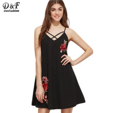 Dotfashion A Line Dress Summer Loose Fashion Ladies Black Crisscross V Neck Embroidered Rose Applique Cami Dress