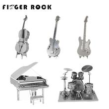 Finger Rock 3D Metal Puzzles DIY Model Musical Instrument Band Guitar Violoncello Piano Drum Kit Children Toys Present Gift