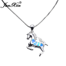 JUNXIN Women Blue Opal Horse Necklace 2017 New Fashion Animal Wedding Jewelry 925 Sterling Silver Filled Necklaces Pendants Gift