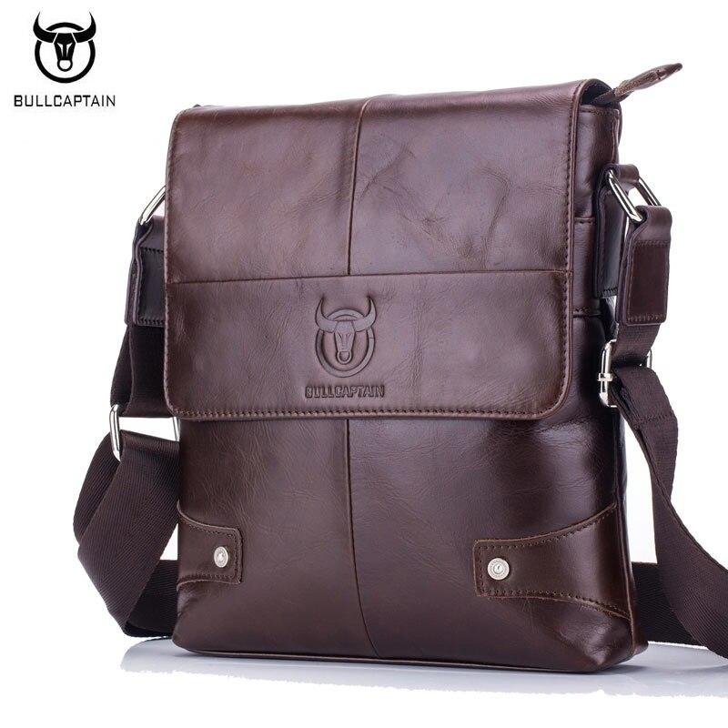 BULLCAPTAIN New Arrival 100% Genuine Leather Mens Bag Fashion Vintage Men Shoulder Crossbody Bags High Quality Messenger Bag<br>