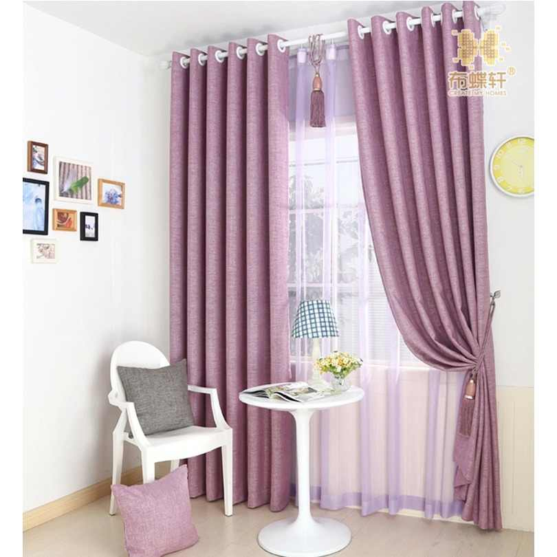 Luxury Curtain Elegant Purple Beige Blackout Blinds Drapes for Hotel Cafe Simple Modern Linen Curtains for Living Room Bedroom
