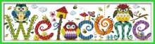 Joy sunday cartoon style The owl welcome card cross stitch embroidery patterns design handwork embroidery kits for gifts