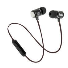 Wireless Earphone 2017 New Bluetooth 4.2 Headphone Metal Headset Dual Stereo Bass Earbuds with Mic Magnetic Sports HIFI Earbuds(China)