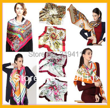 NEW 2017 90x90cm plus size women fashion Silk satin Square Scarf Brand Imitated Silk scarves Shawl Hijab NO. 60-80 SC0271