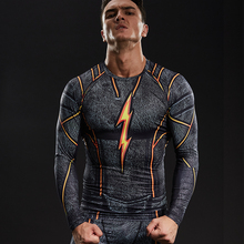 FLASH Compression Shirt Men 3D Printed T-shirts Men Raglan Long Sleeve Cosplay Costume Tops Male fitness body building Clothing(China)