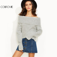 COLROVIE Grey Fold Over Knitted Sweater Off Shoulder Slit Pullover Women Basic Autumn Jumper 2017 Sexy Long Sleeve Loose Sweater(China)