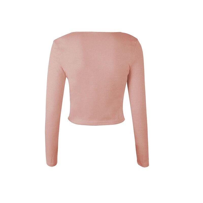 Crop Top Women Long Sleeve Button O-neck Spring Summer T Shirt Women Sexy Camiseta Mujer Women Tshirt Tee Shirt Femme 2019 Tops226